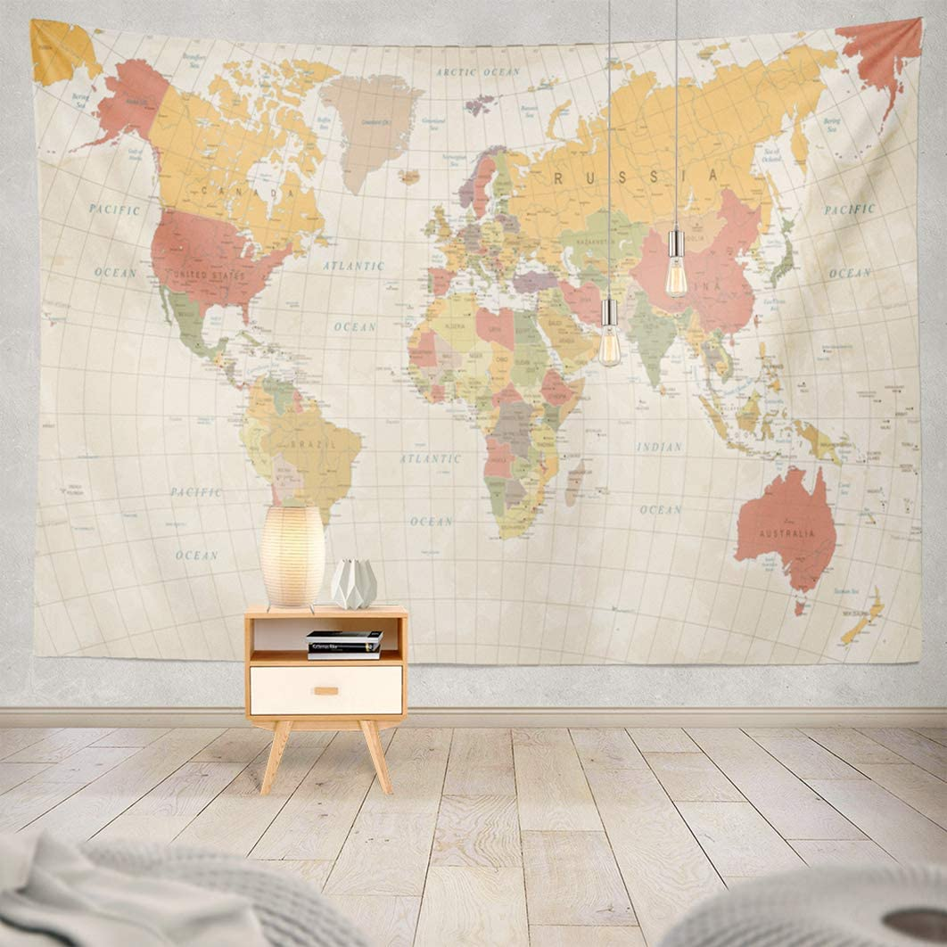 Alricc River Tapestry,AlriccTapestry Wall Tapestry Vintage World Map Asia Retro Europe Color Earth Wall Hanging Tapeatry for LivingRoom Bedroom Decor 80X60
