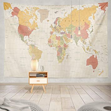 Alricc River Tapestry,AlriccTapestry Wall Tapestry Vintage World Map Asia  Retro Europe Color Earth Wall Hanging Tapeatry for LivingRoom Bedroom Decor  ...