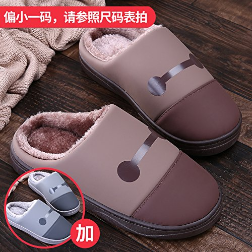LaxBa Femmes Hommes chauds dhiver Chaussons peluche antiglisse intérieur Cotton-Padded Slipper chaussures Brown + gris40/41 + 40/41