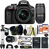 Great Value Holiday Bundle for D3400 with 18-55mm AFP + 55-300 VR + Tripod + 2pcs 32GB Memory Cards + Wide Angle + Telephoto + Reader + Lens Pen + Flash