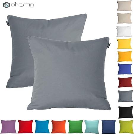 Dhestia Pack X 2 Fundas Cojines Decoración Sofá Y Cama 45X45 Cm Loneta Colores (Gris/Grey), 45 X 45 Cm: Amazon.es: Hogar
