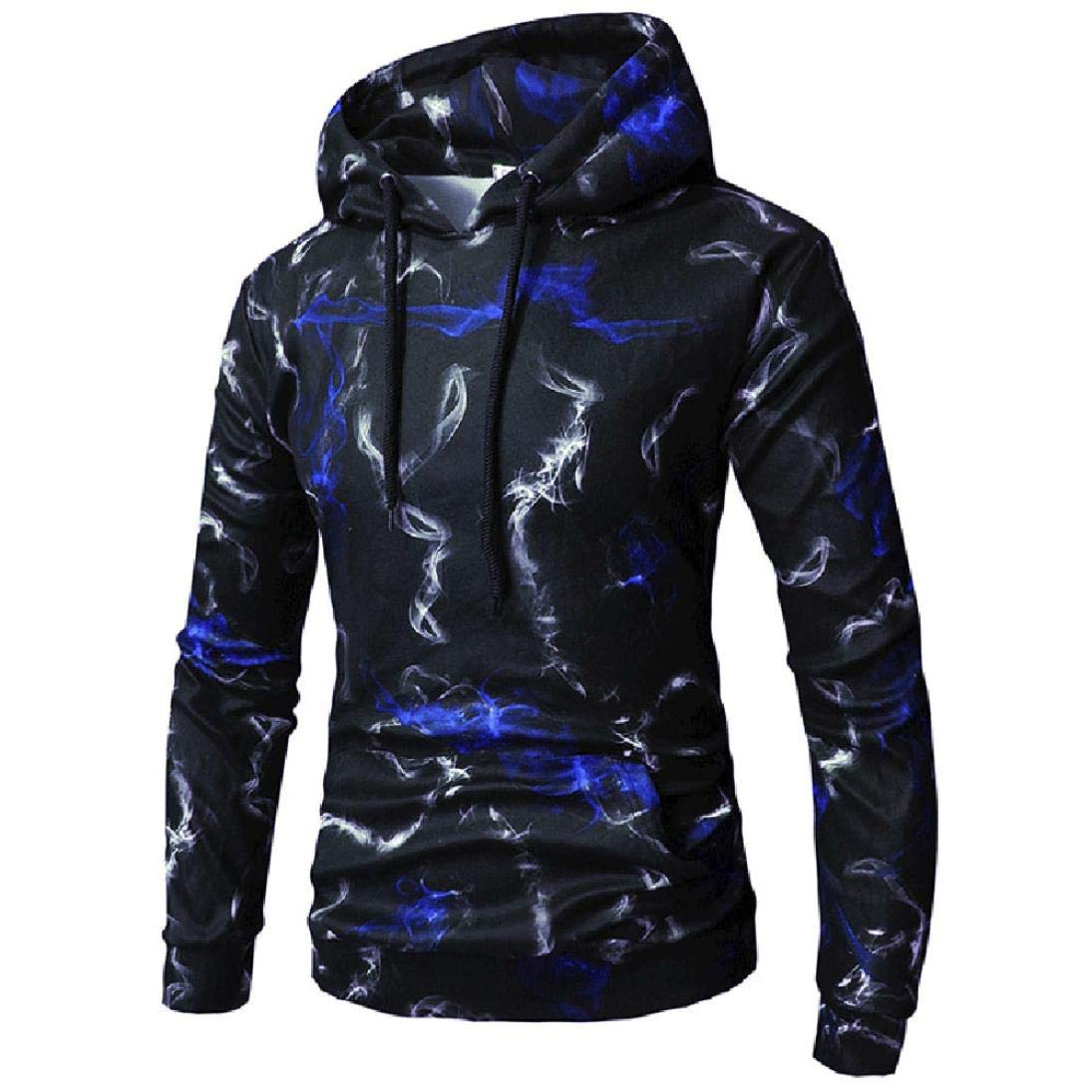 kaifongfu Sweater Top for Men with Digital Print Outwear Hooded T-Shirt Mens TeeBlueXL