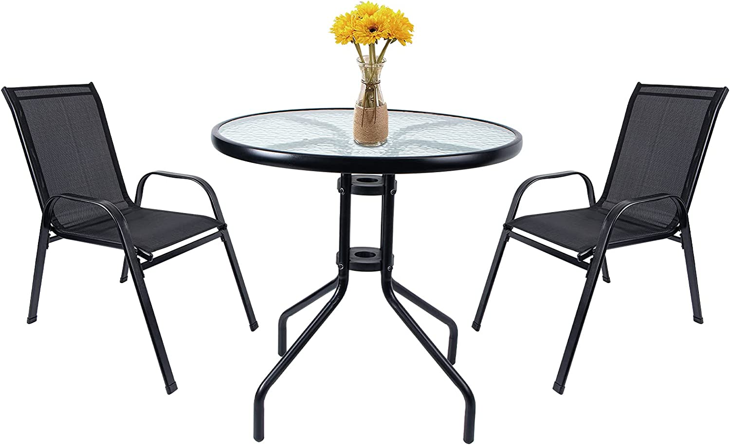 VCUTEKA 3-Piece Patio Table and Chair Patio Bistro Dining Furniture Set Outdoor with Textured Glass Table Top