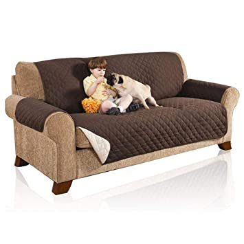 AOLVO Funda de Sofá Impermeable, Reversible Sofa Slipcover Protector Quilted Couch Furniture Shield Machine Lavable