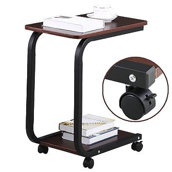 topeakmart portable sofa side table slide under shelf on casters espresso - Sofa Side Table