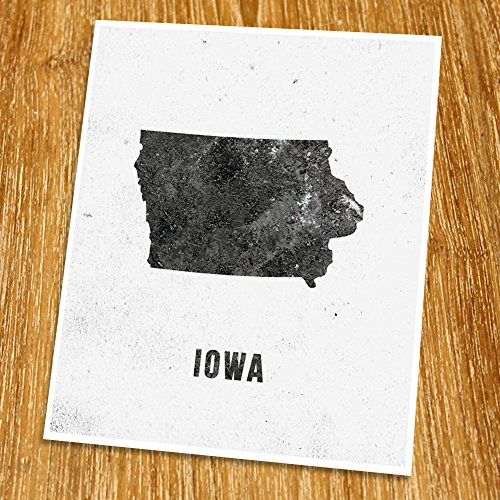 "Iowa Map Print (Unframed), Modern Map Art, Cafe, Industrial, Loft, Black and White, 8x10"", TE-015"