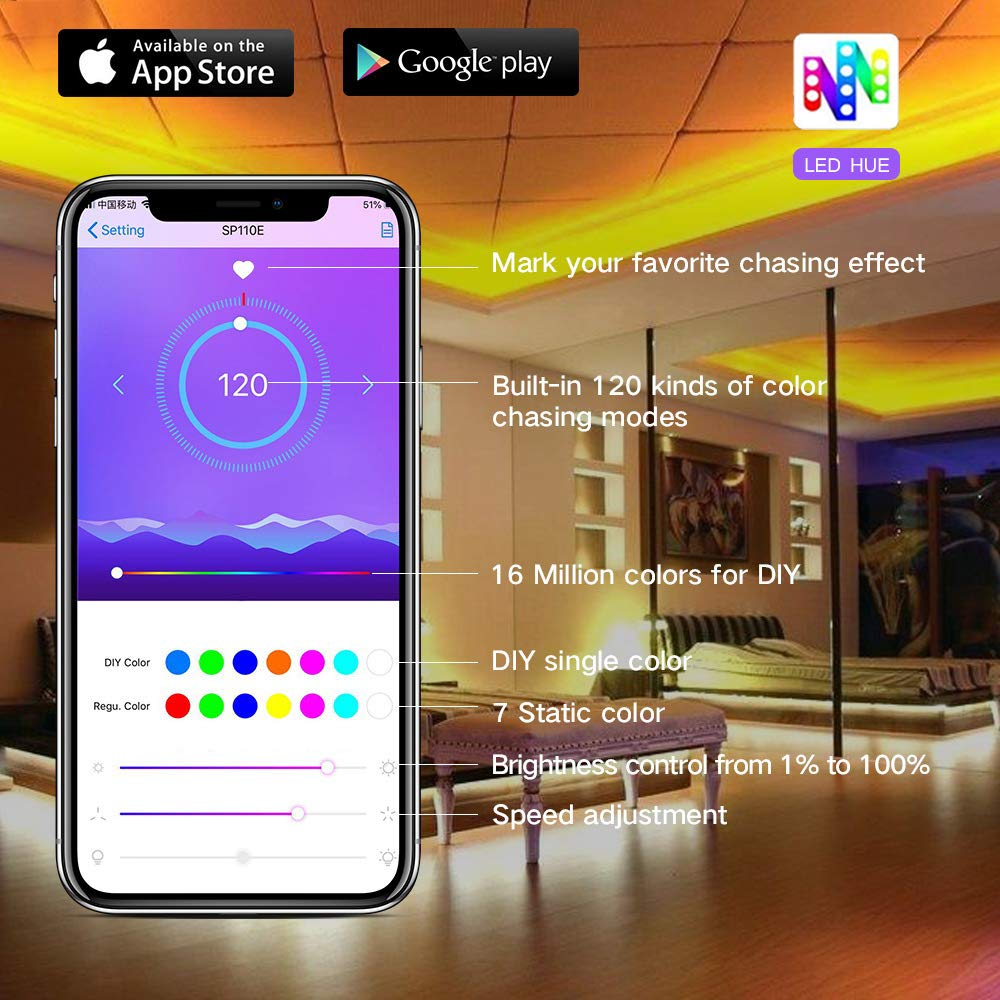 LED Strip Lights Built-in IC with App, 32.8ft/10m LED Chasing Light, 12V 5050 RGB Waterproof 300Leds Flexible-Lighting, Dream Color Changing Rope Lights Kit with Adhesive for Home Kitchen by Sanwo (Image #2)