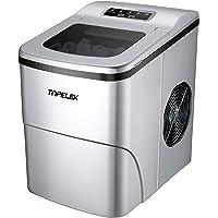 Eiswürfelmaschine TOPELEK /12kg Eiswürfel (26 lbs) /6-8 Minuten Produktionszeit/leise /2L /150 W /2 Eiswürfel-Größen/Edelstahl/eiswürfelbereiter/icemaker/ohne Wasseranschluss
