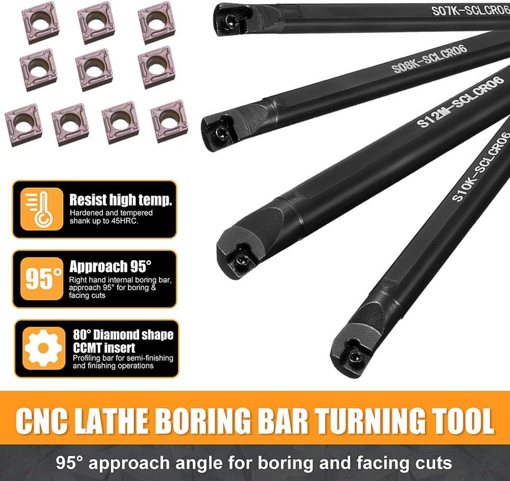 Shentesel 5 Sets S06K S07K S08K S10K S12M SCLCR06 Lathe Turning Tool Holder Boring Bar
