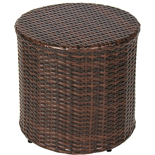 - NAKSHOP Outdoor Wicker Ottoman Small Patio Furniture Round Footrest Coffee Table Stool Seat Espesso Brown Modern Rest Hassock Lawn And Garden Backyard All Weather Resistant Rattan And eBook By