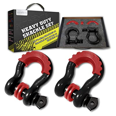 """AUTOBOTS Bow Shackle 3/4"""" D-Ring Black 1 Shackle (2 Pack), 41,887Ib Break Strength with 7/8"""" Pin, 2 Red Isolator and 4 Washers Kit for Off-Road Jeep Vehicle Recovery: Automotive"""