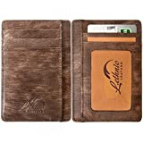 Lethnic Slim Wallet RFID Front Pocket Minimalist Wallet With ID Window - Genuine Leather (Special Brown)