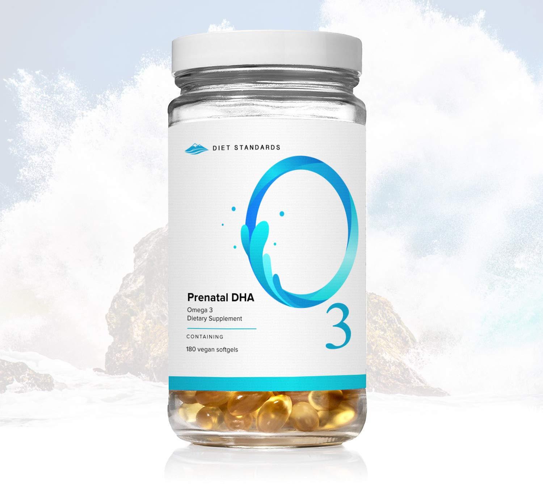 O3 Prenatal DHA - 100% Vegan/Vegetarian with Algae Oil (No Mercury!) - Diet Standards Best Prenatal DHA Omega-3 Vitamins for Pregnancy