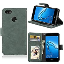 Huawei Y6 Pro 2017 / Enjoy 7 Case, SATURCASE Retro Frosted PU Leather Flip Magnet Wallet Stand Card Slots Protective Case Cover for Huawei Y6 Pro 2017 / Enjoy 7 (Green)