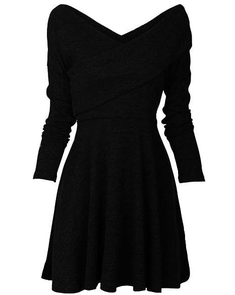 Womens Long Sleeve Casual Jersey Pullover Slim Fit Wrap Warm Swing Midi  Dress Black1 Small