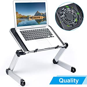 """Adjustable Laptop Stand for Desk, Armyte Laptop Desk Table with Cooling Fan Portable Foldable Notebook Raiser for Couch/Bed/Sofa Compatible with 11"""" to 15"""" inches Chromebook MacBook Air Pro XPS iPad"""