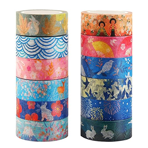 (Kyoto Series Masking Washi Tape Collection for Arts and DIY Crafts, Scrapbooking, Bullet Journal, Planner, Gift Wrapping (Set of 12 Rolls))