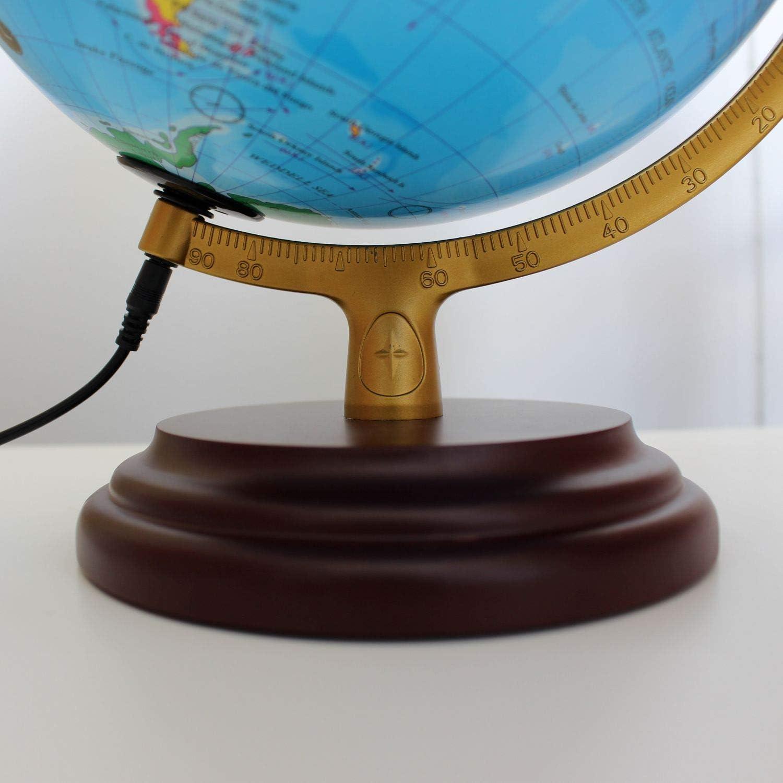 Globo con Base in Legno Marrone Rossiccio con Cavo e Alimentatore USB Diametro 25 cm Magellan Cimbria Globo Illuminato con Immagine Mappa Politica ed Economica Illuminazione a LED