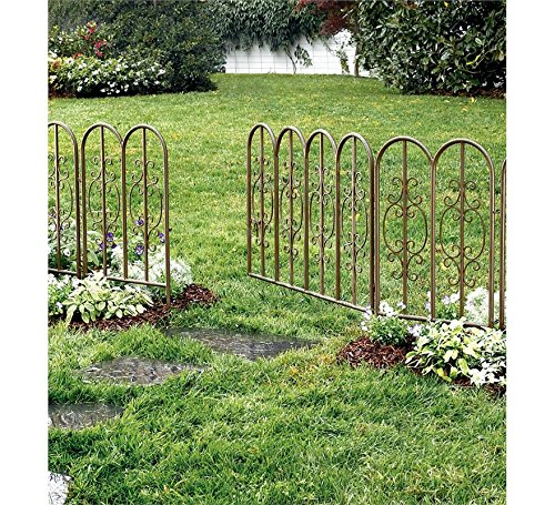 Montebello Iron Metal Scroll Outdoor Garden Fence with Gate 72 L x 34 H Overall Burnished Bronze Finish