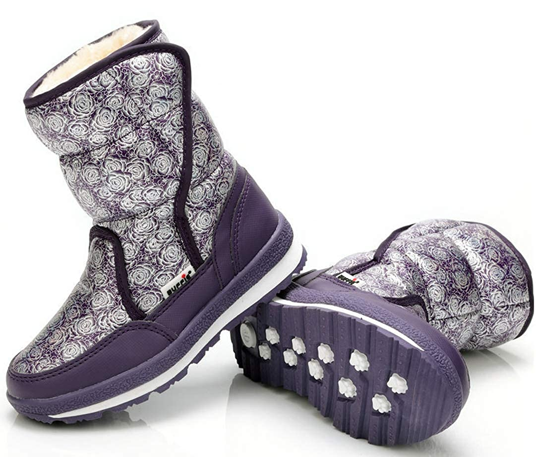 Toddler//Little Kid//Big Kid iDuoDuo Girls Colorful Floral Winter Snow Boots Princess Rose Party Boots