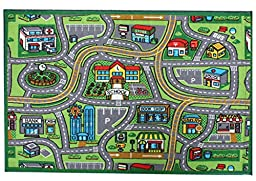 J & M Home Fashions Kids Play Rug Educational Rug, Street Map, 40\