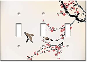 Art Plates 3-Gang Toggle OVERSIZE Switch Plate/OVER SIZE Wall Plate - Birds on a Cherry Blossom