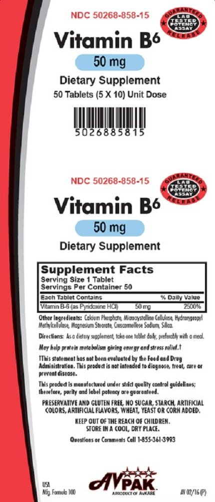 Vitamin B6 Tablets, 50mg, 50 Count (6 Pack)