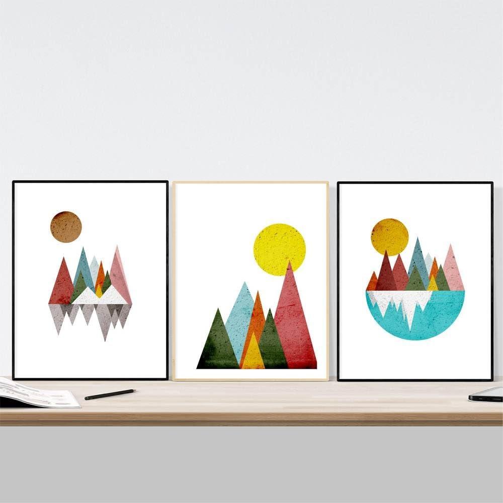 Nacnic Conjunto de 3 láminas para enmarcar montañas geométricas. Carteles de Estilo nórdico con imágenes geométricas, tamaño A3. Decoración del hogar. Papel 250 Gramos Decora la Sala de Estar o Haz