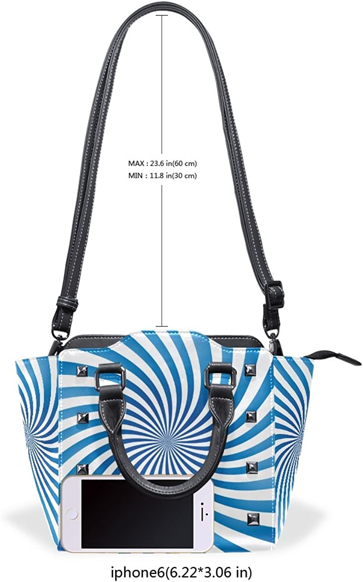 Sunlome Abstract Blue Spiral Pattern Womens Leather Tote Shoulder Bags Handbags