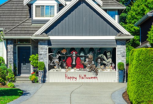 Outdoor Halloween Holiday Garage Door Banner Cover Mural Décoration 8'x16' - Dracula's Halloween Dinner - Outdoor Halloween Holiday Garage Door Banner Décor Sign 8'x16' (Halloween Decorations For Garage Door)