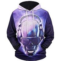 Aiweijia Men's Long Sleeve Sweater 3D Starry Hooded Sweater Top Long Sleeved
