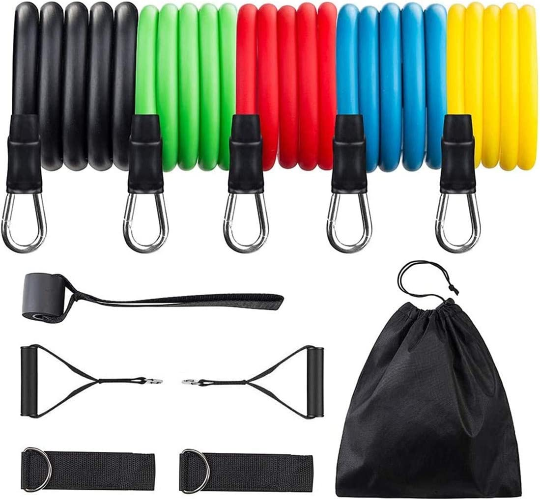 Resistance Bands Set,Home Gym Equipment for Men Women, Exercise Strength Bands with Handles, 5-Piece Exercise Bands, Handles, Door Anchor, Ankle Straps, Carrying PouchStackable Up to 100 lbs.