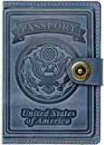 Villini - Leather RFID Blocking US Passport Holder Cover ID Card Wallet - Travel Case (Light Blue)