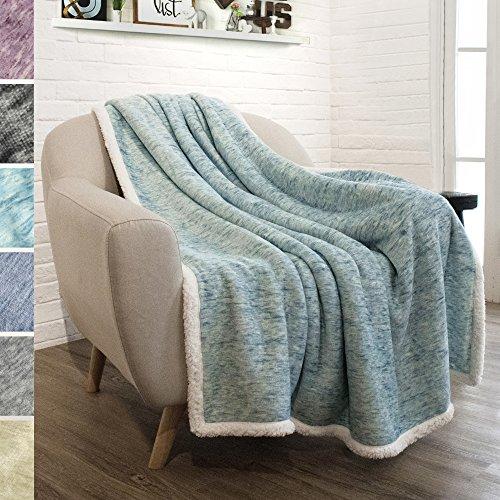 - PAVILIA Premium Sherpa Throw Blanket for Couch, Sofa | Soft Micro Plush Reversible Throw | Melange Fleece Lightweight All Season Blanket (50 X 60 Inches Sea Blue)