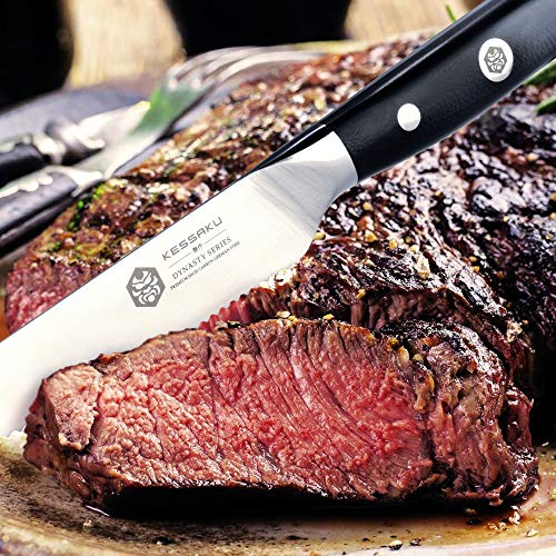 Kessaku Steak Knife 4 Pack Set - Dynasty Series - German HC Steel, G10 Full Tang Handle, 4.5-Inch by Kessaku (Image #2)