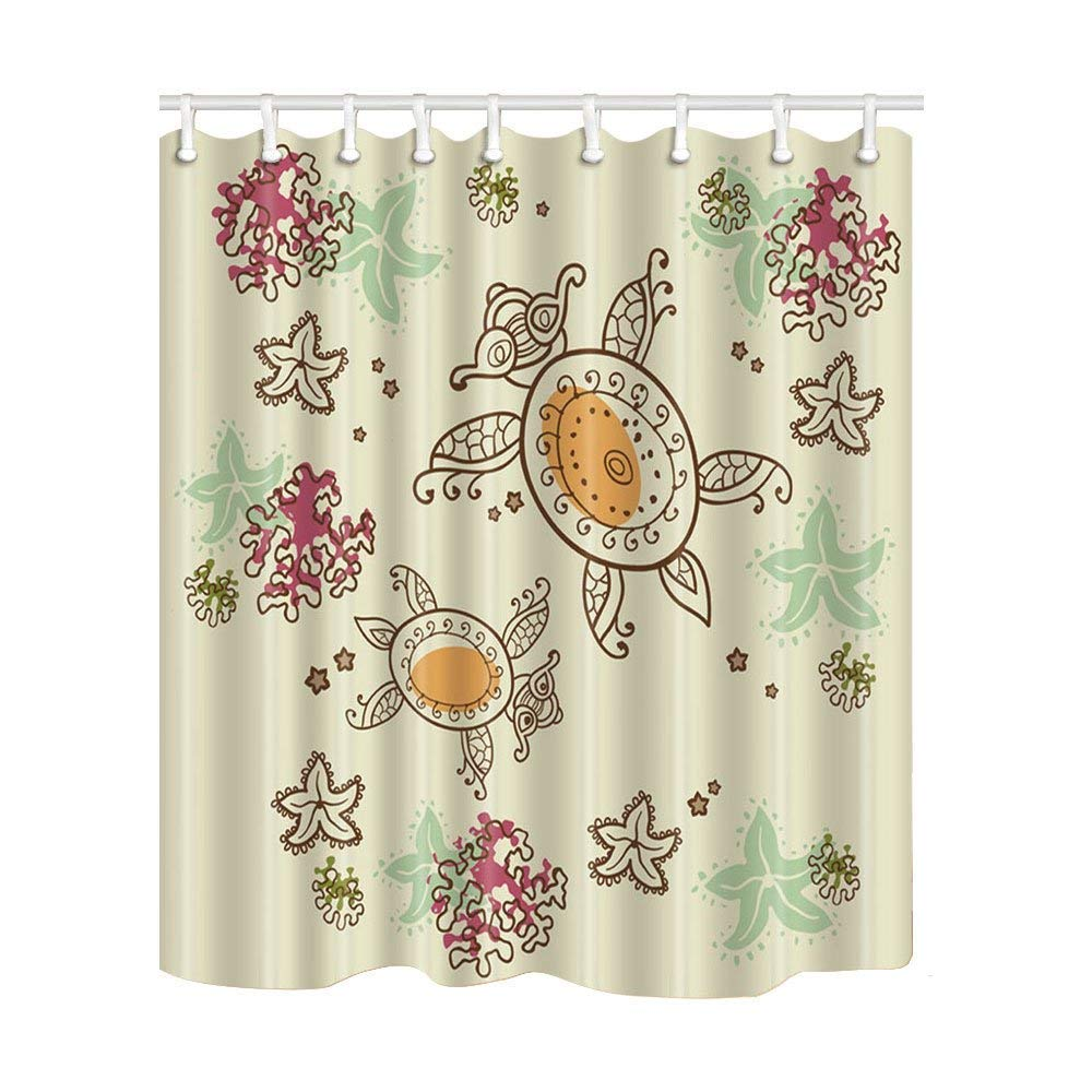 Angelo Gunter 3D Digital Printing Ocean Turtles With Coral Shower Curtain Mildew Resistant Polyester Fabric Bathroom Decorations Bath Curtains Hooks