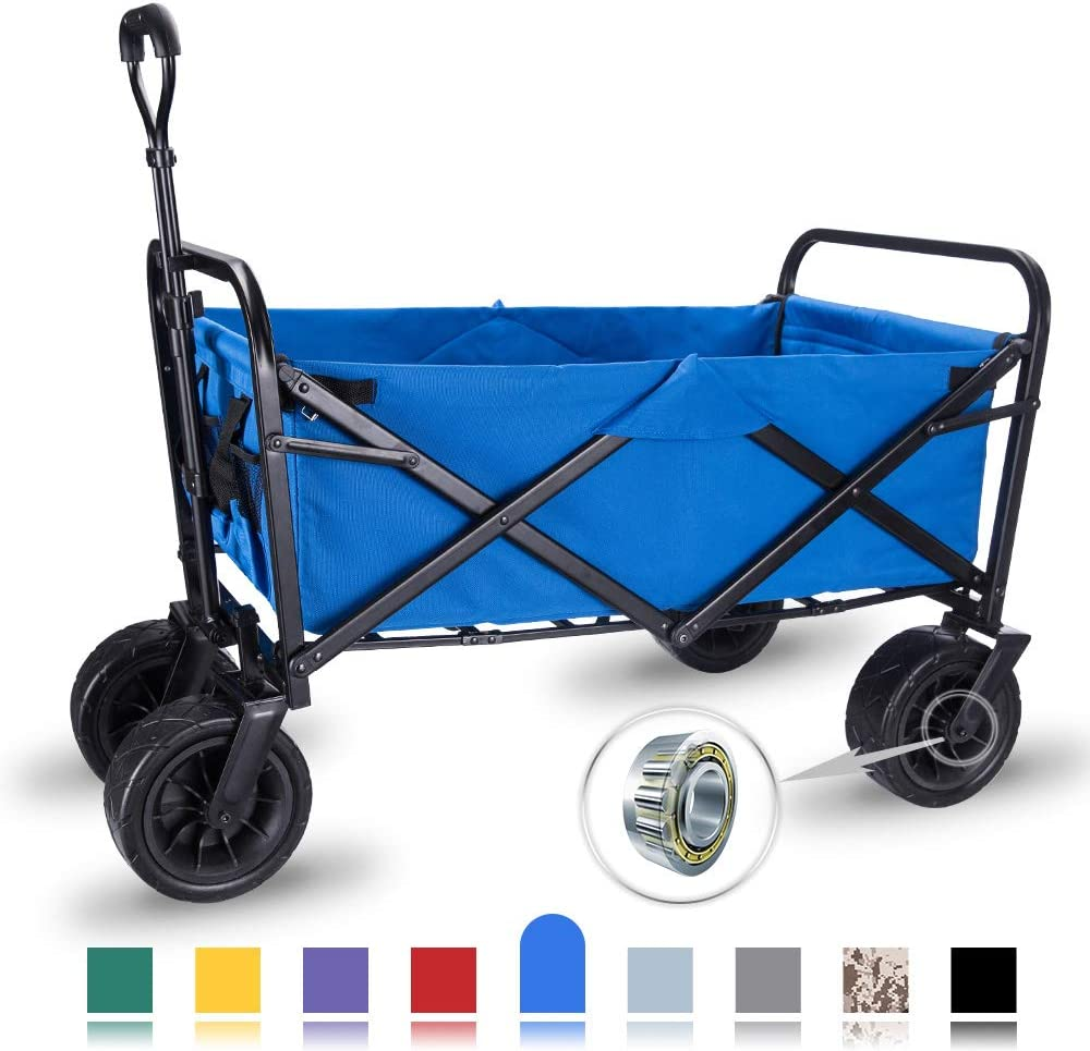 WHITSUNDAY Collapsible Folding Garden Outdoor Park Utility Wagon Picnic Camping Cart with Wheel Bearing Standard Size Plus 8 Heavy Duty Wheels, Blue