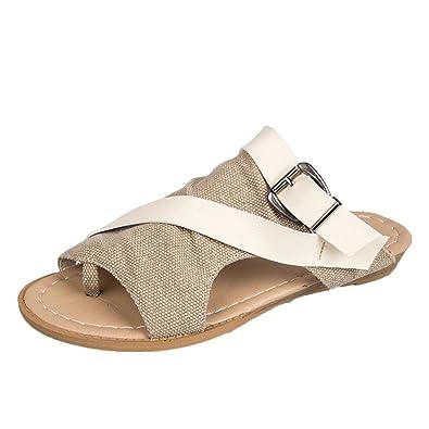 4d14d43ff76 SANFASHION Sandale Femme Plates Femme Chaussures Tongs Pantoufles Toile Nu  Pied Été Plage (34