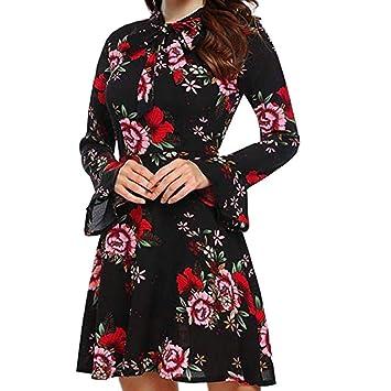 FuweiEncore Flare de Manga Larga para Mujer con Cuello Redondo O-Cuello Estampado Floral Mini Vestido Delgado (Color : Rojo, tamaño : Large): Amazon.es: ...