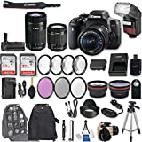 Canon EOS Rebel T6i DSLR Camera EF-S 18-55mm f/3.5-5.6 IS STM Lens + EF-S 55-250mm f/4-5.6 IS STM Lens + 2Pcs 32GB Sandisk SD Memory + Automatic Flash + Battery Grip + Filter & Macro Kits + More