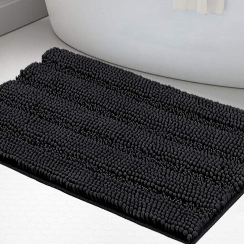 "Luxury Chenille Bath Rug for Bathroom Rugs Extra Absorbent Bath Mat Non Slip Microfiber Shower Rug for Bathroom Microfiber Shaggy Carpet Rug Size, 20""x 32"", Black"
