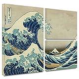 ArtWall Katsushika Hokusai 'The Great Wave Off Kanagawa' Flag 3-Piece Gallery Wrapped Canvas Artwork, 24 by 36-Inch