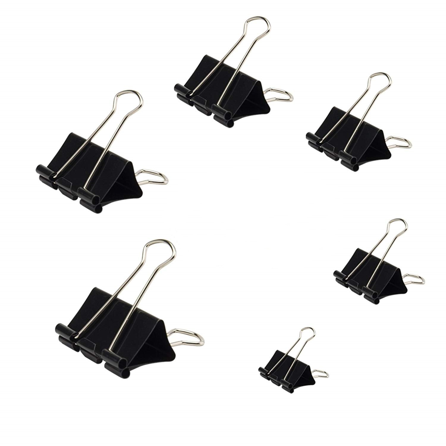 Binder Clip Black Paper Clip Various 6 Size Paper Clips Office School and Household Items 120 Packs