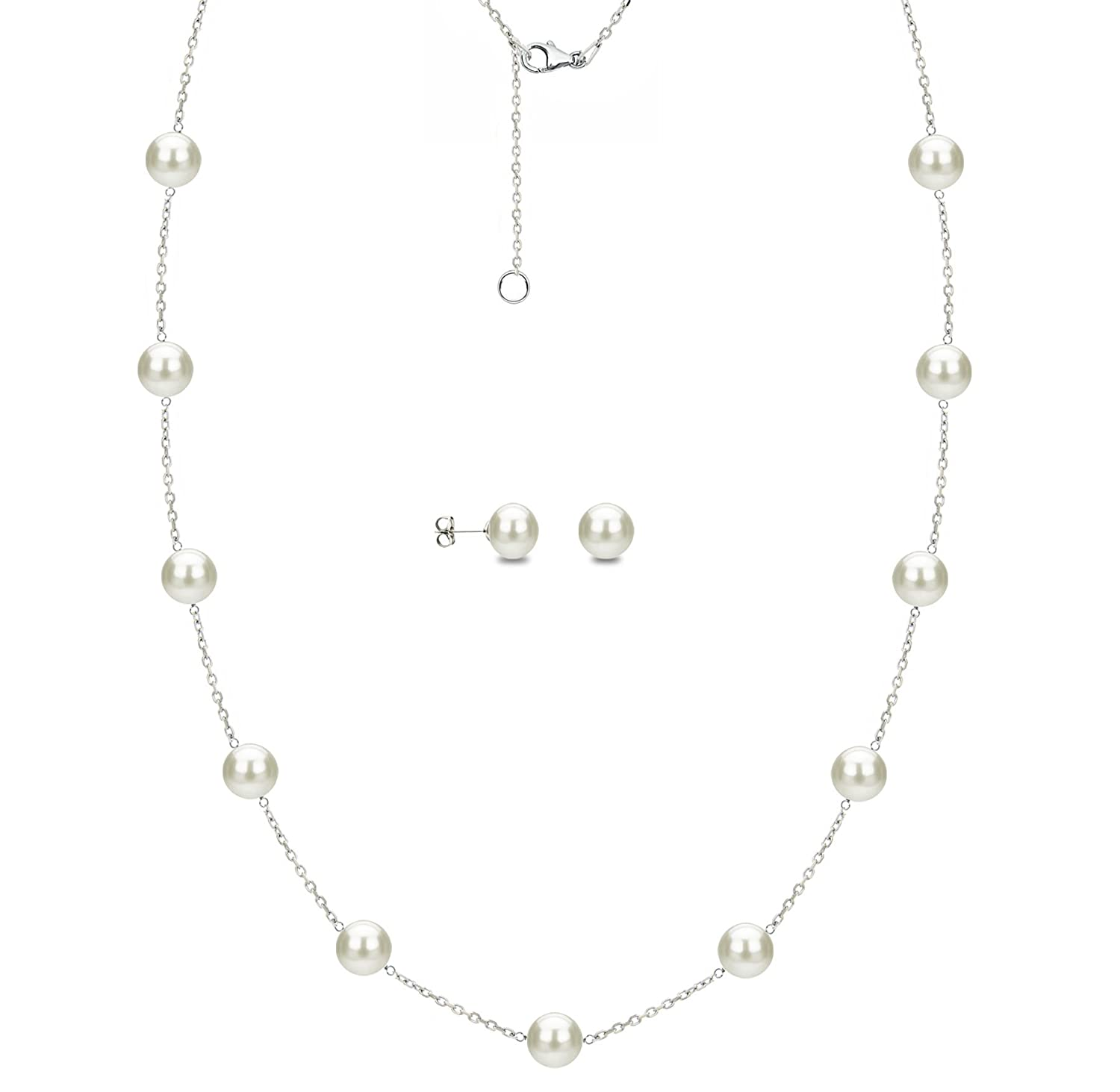 Sterling Silver 7-7.5mm White Freshwater Cultured Pearl Station Necklace and Stud Earrings Set