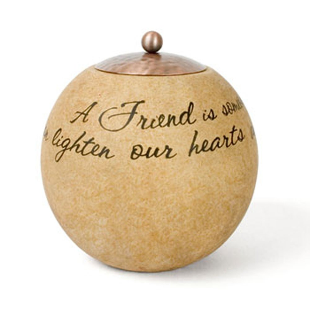Pavilion Gift Company Comfort Candles 4-1/2-Inch Round Candle Holder, Friend 05674