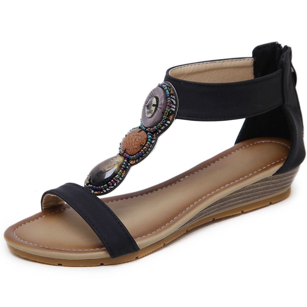 KingRover Women's Thong Wedge Heel Zip Sandals T-Strap Bohemian Rhinestone Slip On Flip Flops Shoes B07BNKM7SY 10 B(M) US|4black