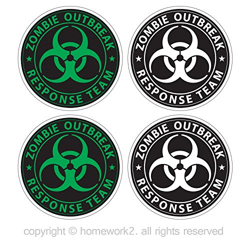 Homework2 Zombie Outbreak Response Team Stickers Biohazard Symbol, Vinyl Decals, UV Protected & Waterproof, 4 X 4 Inch - Pack of 4 (Green and White on Black) -