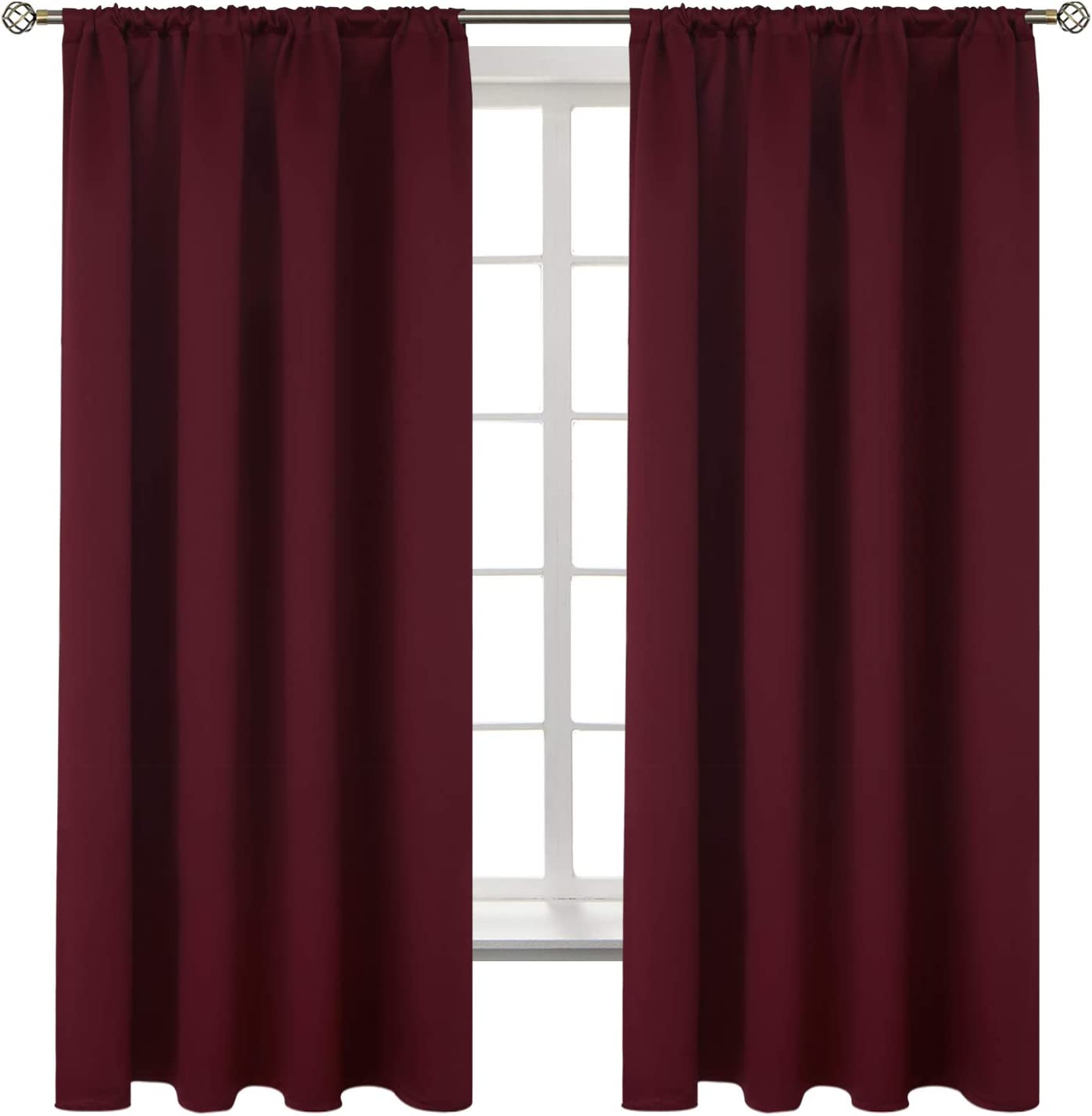 BGment Rod Pocket Blackout Curtains for Bedroom - Thermal Insulated Room Darkening Curtain for Living Room , 52 x 63 Inch, 2 Panels, Burgundy