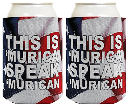 Funny Beer Coolie Murica Speak USA 4th of July Patriotic Accessory, 2 Pack Can Coolie Drink Coolers Coolies American Flag