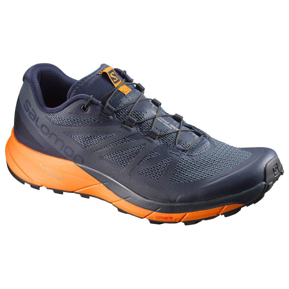 Salomon Sense Ride Trail Running Shoe - Men's Navy Blazer/Bright Marigold/Ombre Blue 12